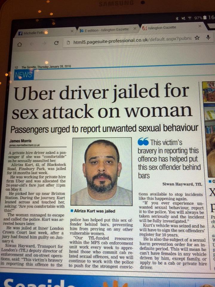 #uber rape newspaper