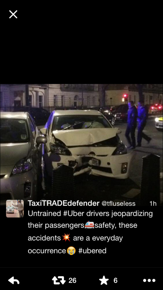 "EXCLUSIVE SPECIAL INVESTIGATION The majority of uber drivers in London are foreign immigrants,You'll find that the majority of them have never driven in England let alone London as these images show how many crashes Uber drives are having daily on the streets of London, also our images show how many of the general public are injured and killed because of there little knowledge of our roads and with very little or hardly any training they are given access to a license to drive here in London which would take a London Black cab driver 4 years to complete 2 people we found had in fact been told by there Uber drivers. ""he had just passed his test and has no idea what Gatwick airport is""! another wrote ""my Uber driver has just be telling me he has only been in the UK and driving for 2 weeks....Whilst driving the wrong way into oncoming traffic""! ¿Exclusivepix media"