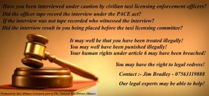 Have you been interviewed under caution by civilian taxi licensing enforcement officers?